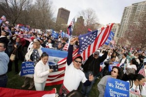 Demonstrators March In National Day Of Action On Immigrant Rights